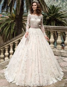 57745ce3e07 Luxurious Ball Gown Princess Lace Wedding Dresses 2017 New Off the Shoulder  Long Sleeves Chapel Train