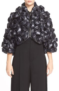 noir kei ninomiya Flower Motif Nylon Jacket available at Structured Fashion, Studded Jacket, Puffy Jacket, Line Jackets, Coats For Women, Nordstrom, Trash Bag, Bubble Wrap, Free Shipping