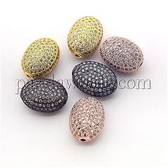 Brass Micro Pave Cubic Zirconia Oval Beads, 14.5x11x7mm, Hole: 1mm