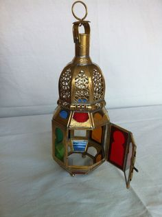 Moroccan Golden Lantern with colored glasses