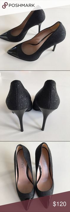 NWT DKNY shay pointy cap toe heels These gorgeous heels are still in their box. 4 inches of beauty, but a little too high for me😢. I had a put a patch at the back (visible in picture 3) to make them more comfortable. DKNY Shoes Heels