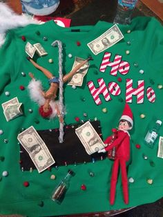Elf on the shelf knows how to have a good time!Elf on the shelf ugly christmas sweaterUgly Christmas Sweater for women Couple Christmas, Tacky Christmas Party, Christmas Ideas, Christmas Outfits, Christmas Games, Holiday Fun, Christmas Crafts, Homemade Ugly Christmas Sweater, Diy Ugly Christmas Sweater