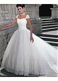 Buy discount Elegant Tulle & Organza V-neck Neckline Basque Waistline Ball Gown Wedding Dress With Embroidery & Rhinestones at Dressilyme.com