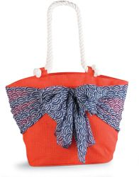 Sarong Along-Orange/Blue Umbrella Sarong | Fashion | Mud Pie...Cool fact: the sash around the beach bag doubles as a sarong for an easy on-the-go cover-up!