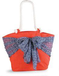 Sarong Along-Orange/Blue Umbrella Sarong   Fashion   Mud Pie...Cool fact: the sash around the beach bag doubles as a sarong for an easy on-the-go cover-up!