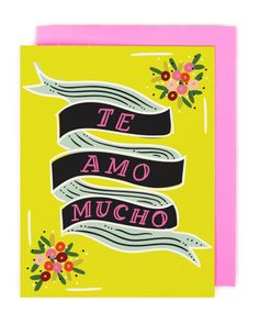 Te Amo Mucho Card by littlelow on Etsy Stationery Paper, Valentine Day Cards, Paper Goods, I Card, Cat Lovers, Card Stock, Greeting Cards, Mexican, Creative