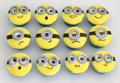 These minion cupcakes include Bob, Stuart and Kevin. Ideal for a minion party or gift for any minion fans. Chocolate cupcakes topped with vanilla buttercream and yellow fondant. Minion Cupcake Toppers, Minion Cupcakes, Fondant Cupcakes, Cupcake Cookies, Cake Minion, Minions Birthday Theme, Minion Party, Birthday Cakes, 5th Birthday