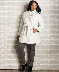 Baby Phat Plus Size Coat, Ruffled Double-Breasted Belted - Plus Size Coats - Plus Sizes - Macy's