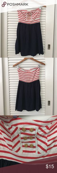 Xhilaration Nautical Dress Cute, red white and blue, nautical dress. Slight sweetheart neckline with buttons and crochet detailing on the bust. Elastic back. Smoke-free home. Please make offers! Xhilaration Dresses Mini