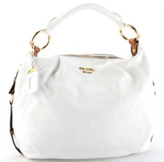 Prada BR4224 Leather Shoulder Bag White 1