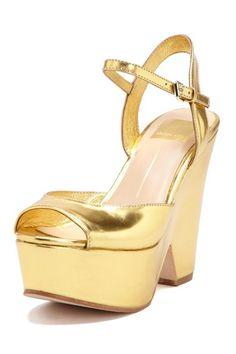 Gold Platform Wedge Sandal