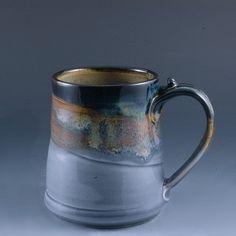 Pottery Mug Light Blue Brown Stoneware by Mark by MarksPottery