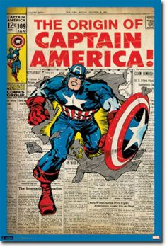 A great Captain America poster! The Jack Kirby comic book cover from issue - a Marvel Comics classic. Check out the rest of our amazing selection of Avengers posters! Need Poster Mounts. Captain America Poster, Marvel Captain America, Captain America Comic Books, Marvel Man, Marvel Heroes, Marvel Avengers, Superhero Boys Room, Superhero Party, Superhero Alphabet