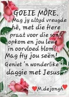 Goeie more n vreugdevolle dag vir jou Good Night Quotes, Good Morning Good Night, Good Morning Wishes, Lekker Dag, Evening Greetings, Afrikaanse Quotes, Goeie More, Life Learning, My Roots
