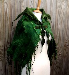 Handmade green cape-Made to order for you-Wild  Moss Woodland Felted cape - Fairytale cape - elven cape - Fairy cape - shawl - Elven Cape