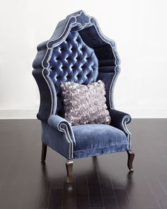 What I like about this is the color! This royal blue, throne-inspired chair by Haute House adds a regal touch to your home. Place in a bedroom suite or an entryway, or add a pair to your living room for stylish fireside seating. Unique Furniture, Bedroom Furniture, Furniture Design, Wooden Furniture, Furniture Movers, Furniture Stores, Furniture Dolly, Furniture Logo, Furniture Removal
