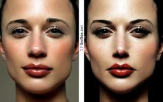 Before and after photoshop. (Psst... we think she looks prettier before!)
