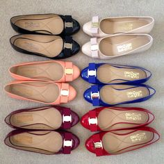 Great Salvatore Ferragamo Flats/Ballerinas in different colours. I want the black, blue, red and nude ones please.