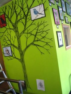 How To Make a String Tree Wall Mural. I am definitely going to use this to help me make a family tree mural at home, but it would be wonderful for school as well. Tree Wall Murals, Wall Art, Wall Decor, Diy Wall, Mural Art, Bedroom Decor, String Art Diy, Yarn Trees, Best Decor