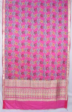 SALE! Indian Pure Silk Zari Brocade Floral Paisley Pink Blue Yellow Fabric Saree Sari  TP1348