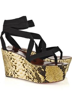 6717095b9170 Lanvin Snake-print wedge ribbon sandals Lanvin sandals have a round toe