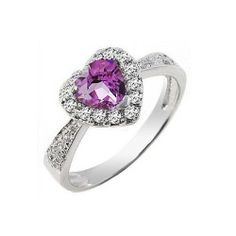 0.7 CT Amethyst Heart Cubic Zirconia 925 Sterling Silver White Gold Plated Women's Ring