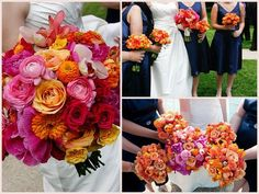 Ranunculus Rose Zinnia Bouquets - Allerton Hotel Chicago Wedding - Scarlet Petal