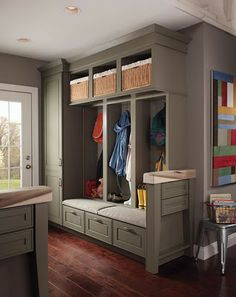 Mudroom Lockers with end cabinet.