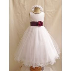 Curly Bottom White Gown with Purple Plum Sashes