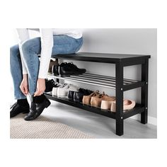 TJUSIG Bench with shoe storage - black - IKEA