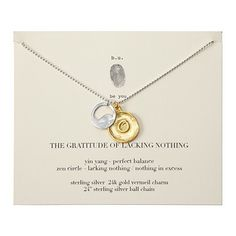 Gratitude of Lacking Nothing Necklace with a sterling silver yin yang and gold vermeil zen charms. Unique Necklaces, Handmade Necklaces, Necklace For Girlfriend, Discount Jewelry, Unusual Gifts, Cool Gifts, Awesome Gifts, Creative Gifts, Ball Chain