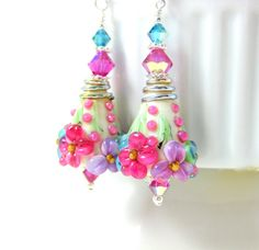 Colorful Floral Earrings Pastel Botanical by GlassRiverJewelry