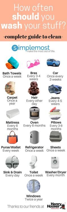 This is the best guide to how often you should wash your stuff.  It is the perfect chart that can keep you on track for clean! http://www.simplemost.com/often-clean-stuff-infographic-2016-2/?utm_campaign=social-account&utm_source=pinterest.com&utm_medium=organic&utm_content=pin-description