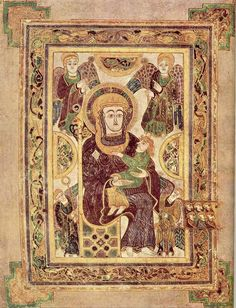 This image of the Madonna and Child surrounded by angels appears on Folio 7 of the Book of Kells. It is the earliest known depiction of the Madonna and Child in western European art.