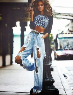 Malaika Firth in Ashish denim. Vogue Paris x Mario Testino