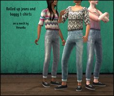TS2 | Retextures of Veranka's 3t2 Cuffed Pants Slouchy Top outfit for AF #Chrysocolla