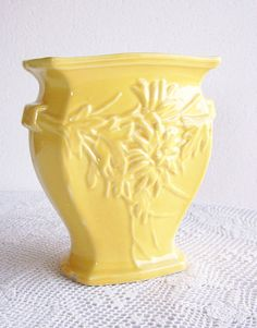 Vintage McCoy Pottery Vase Yellow Mums by AletaFordBakerDesign - 28.00