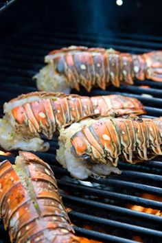 Grilling lobster tails is easy and results in such a delicious dish. Throw a couple of steaks on the grill if you want Surf and Turf, or simply serve the lobster tails as they are. However you serve them, this is an impressive and mouthwatering dish. Think Food, I Love Food, Good Food, Yummy Food, Lobster Recipes, Fish Recipes, Seafood Recipes, Grilling Recipes, Cooking Recipes