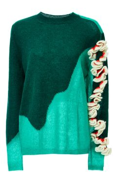 Alpaca, Silk And Wool Ruffle Shouldered Mohair Knit  by DELPOZO Now Available on Moda Operandi