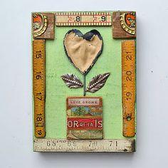 Yardsticks and Rulers Upcycled altered art valentine