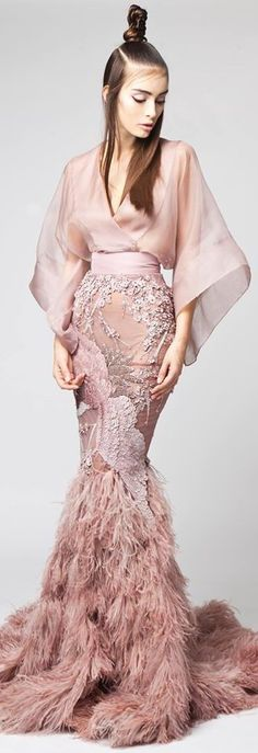 Robe rose style Kimono Collection Haute Couture Elio Abou Fayssal - Printemps-Eté 2016