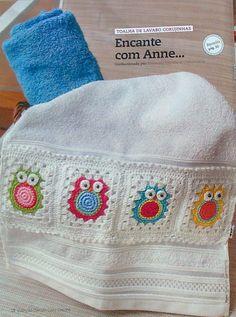 crochet motifs: crochet owls and birds, crochet patterns Crochet Square Pattern, Crochet Borders, Crochet Squares, Crochet Granny, Crochet Patterns, Crochet Towel, Crochet Art, Love Crochet, Learn To Crochet