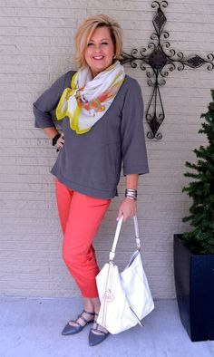 50 Is Not Old | Gray & Coral | Spring Outfit | Fashion over 40 for the everyday woman|