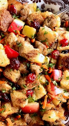 5-Star Sausage Apple and Cranberry Stuffing ~ Fresh, savory, tart, sweet and festive, the perfect stuffing for Thanksgiving or Christmas holidays! Featured at the Allrecipes.com site with a 5-star rating and over 2,000 reviews. It will rock your ever-loving turkey stuffing world!