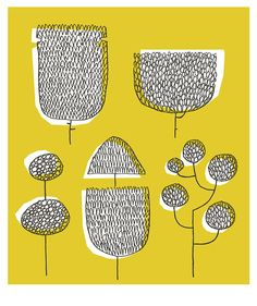 """Topiary Trees"", from the Tokyo-inspired Sketchbook Series prints for Skinny laMinx, by Heather Moore."