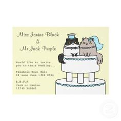 Cute Cats And Hearts Save The Date Wedding Notice Card