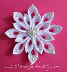 Wedding Kanzashi Satin hair clips - White Flower hair accessories