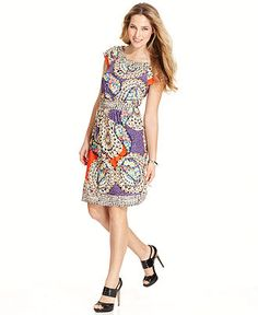 ECI Dress, Short-Sleeve Printed - Daytime Dress - Women - Macys