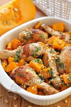 Рецепт: Курица, запеченная с тыквой