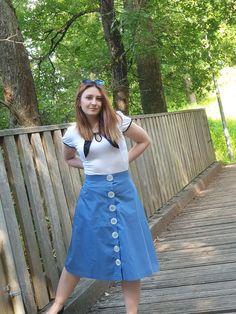 Button Skirt, Large Buttons, Africa Fashion, Summer Skirts, Models, Fashion Details, Flower Power, Denim Skirt, Light Blue